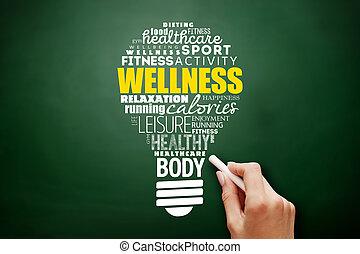 ライト, wellness, コラージュ, 電球, 単語, 雲