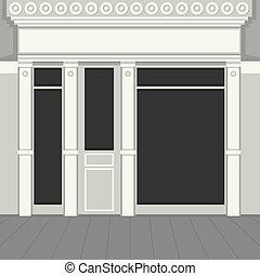 ライト, windows., shopfront, facade., 黒, vector., 店