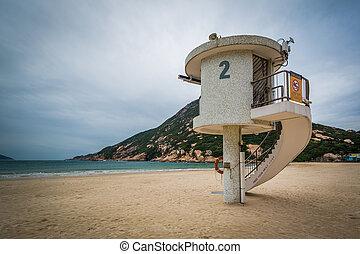 ライフガード, 浜, hong, 島, kong., shek, o, kong, 立ちなさい