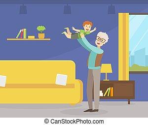 ライフスタイル, わずかしか, 祖父, 活動的, 出費, 時間, 人々, ベクトル, イラスト, 孫, よい, 彼の, 年配