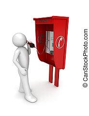 ライフスタイル, コレクション, -, 人, 中に, 電話ボックス