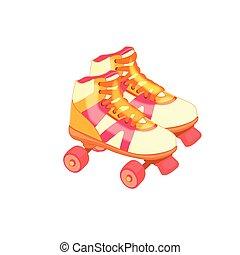 ライフスタイル, バックグラウンド。, 健康, 白, 隔離された, イラスト, スポーツ, 装置, ベクトル, 型, 対, クォード, activity., 健康診断, skates., ローラー, レトロ