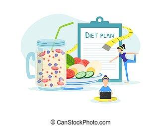 ライフスタイル, 人々, 健康, 重量, 食事である, 維持すること, スポーツ, 習慣, 栄養, フィットネス, ...
