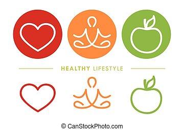 ライフスタイル, 健康, ヨガ, アップル, アイコン, 心