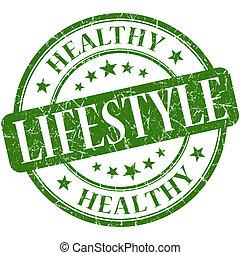 ライフスタイル, 健康, 型, ゴム製 スタンプ, 緑, grungy, ラウンド