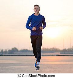 ライフスタイル, 健康, concept., sunset., 若い, スポーツ, 動くこと, スポーツ, 人
