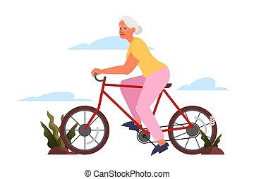 ライフスタイル, 女, ∥(彼・それ)ら∥, outdoor., 古い, 乗馬, 年配, 自転車, 活動的