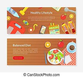 ライフスタイル, 着陸, 健康, ホームページ, 食事, 食べること, バランスをとられた, モビール, セット, ...