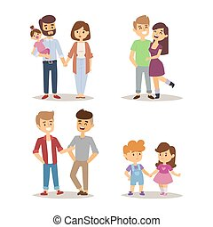 ライフスタイル, 関係, 人々, 恋人, イラスト, 漫画, ベクトル, 特徴, friends., リラックスした, 幸せ