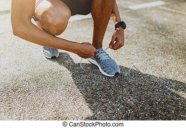 ライフスタイル, 靴, 得ること, ランナー, 健康, 動くこと, 準備ができた, つらい, run.