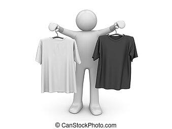 ライフスタイル, -, 2, コレクション, ハンガー, tシャツ, 衣服