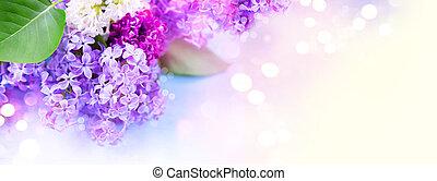 ライラック, 上に, ぼやけた背景, 花, 束