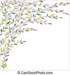 ライラック, border., 葉, 緑の背景, 花, 抽象的