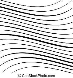 ライン, しわを寄せられる, 変形させなさい, frizzy, 抽象的, パターン, さざ波, lines., ...