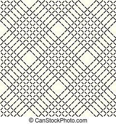 ライン, パターン, 抽象的, seamless, 手ざわり, rhombuses, バックグラウンド。, ベクトル, 黒, 幾何学的, 白