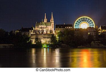 ライン, -, 上に, basel, minster, 夜, スイス