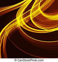 ライン, 抽象的, フラクタル, 勾配, ライト, オレンジ, 曲がった, バックグラウンド。