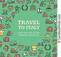 ライン, 旅行, テンプレート, ベクトル, 輪郭, ラウンド, イタリア, デザイン, concept.