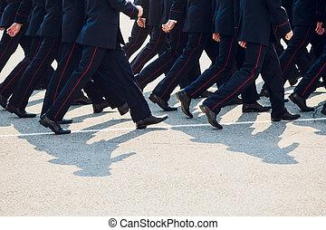 ライン。, marching., 警察, 靴, legs.