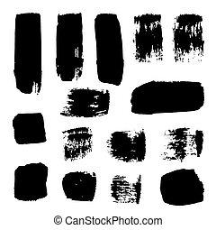 ライン, strokes., elements:, コレクション, 隔離された, 低下, バックグラウンド。, はねる, ベクトル, ポイント, ブラシ, 黒, 白, hand-drawn