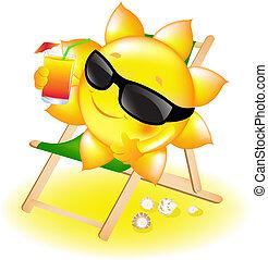 ラウンジ, 太陽, カクテル, chaise