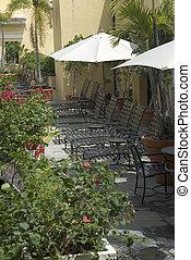 ラウンジ, 椅子, 花, 中庭