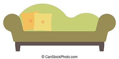 ラウンジ, pillows., chaise, 緑