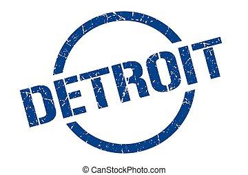 ラウンド, グランジ, デトロイト, 隔離された, 印, stamp.