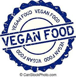 ラウンド, グランジ, 背景, 食物, vegan, 単語, ゴム, 白, 青, シール, 切手