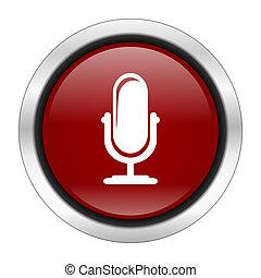 ラウンド, デザイン, 背景, ボタン, 隔離された, アイコン, 白, マイクロフォン, 網, イラスト, 赤