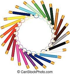 ラウンド, フレーム, 作られた, から, 色, 鉛筆