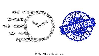 ラウンド, モザイク, recursion, アイコン, 苦脳, 切手, 時計, カウンター