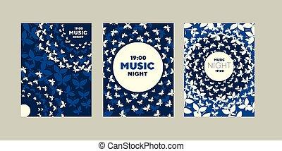 ラウンド, ライト, 夜, moth, 概念, 音楽, ポスター