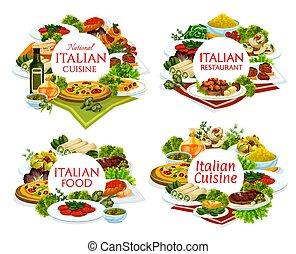 ラウンド, レストラン, 皿, 料理, 旗, イタリア語