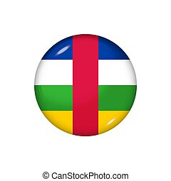 ラウンド, 中央である, グロッシー, ボタン, アフリカ, illustration., 旗, ベクトル, republic., バッジ, アイコン
