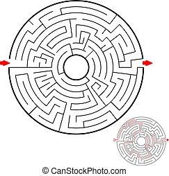 ラウンド, 助け, 迷路, puzzle., ファインド, バックグラウンド。, ゲーム, 黒, kids., 方法, 白, maze., 子供, アウト。