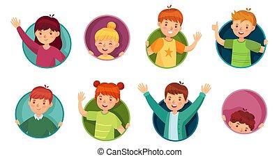 ラウンド, 子供, 子供, 円, 穴, 子供, ベクトル, 子供, かいま見ること, イラスト, frame., から, 見なさい, 窓, セット, 窓, 穴