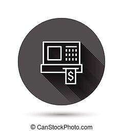 ラウンド, 記録, style., キャッシュ・マシーン, 点検, concept., 平ら, effect., 支払い, イラスト, 長い間, 影, ベクトル, 円, ビジネス, 背景, ボタン, 黒, アイコン