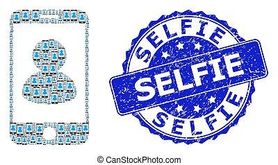 ラウンド, selfie, smartphone, recursive, モザイク, アイコン, シール, 肖像画, 傷付けられる