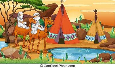 ラクダ, 不毛の現場, 乗馬, 人々