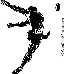 ラグビーボール, キッカー, 白, 黒, プレーヤー, ∥あるいは∥, 見られた, 木版, レトロ, ける, 後部