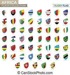 ラグビー, 国, collection., set., 旗, 旗, アフリカ