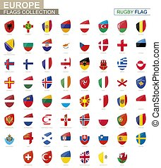 ラグビー, 国, collection., set., 旗, 旗, ヨーロッパ