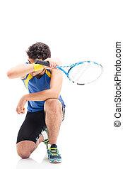 ラケット, スポーツ, テニス, 人, 疲れた