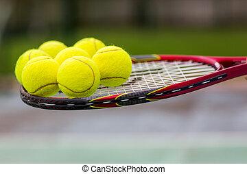 ラケット, テニスボール, ぐっと近づいて