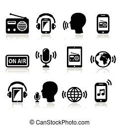 ラジオ, podcast, app, 上に, smartphone
