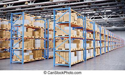 ラック, パレット, イラスト, ボール紙, warehouse., 立ちなさい, 満たされた, 倉庫, 中, ロジスティックである, パレット, center., 3d, 大きい, 棚, 現代, 巨大, 箱