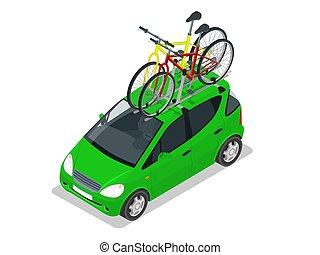 ラック。, ミニ, 等大, ベクトル, 平ら, 自動車, 2, 屋根, 隔離された, バックグラウンド。, bicycles, スタイル, イラスト, 白, 増した