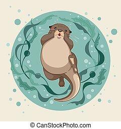 水 浮き ラッコ かわいい イラスト 水 海 浮く カワウソ