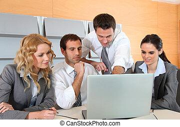 ラップトップ・コンピュータ, ミーティング, オフィス, ビジネス